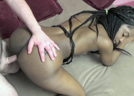 Ebony slut Lola takes some white dick