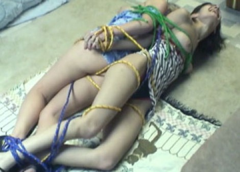 Roxy & Amber tied up on the floor